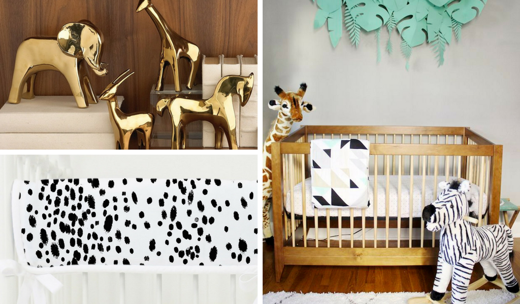gold safari inspired nursery design for a gender neutral or boy nursery