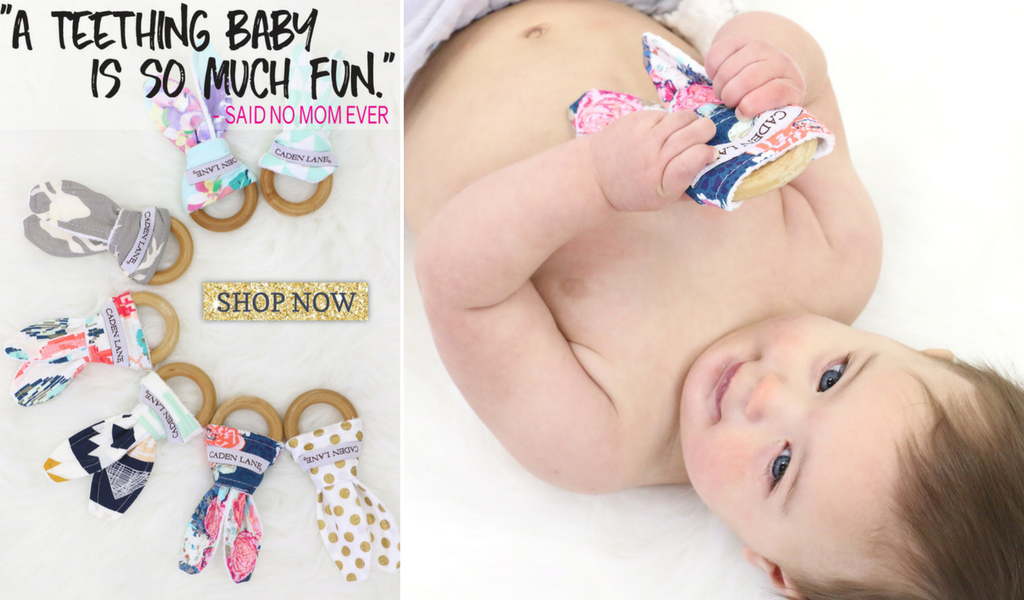 Stylish Caden Lane Bunny-ear Wood Teething Rings