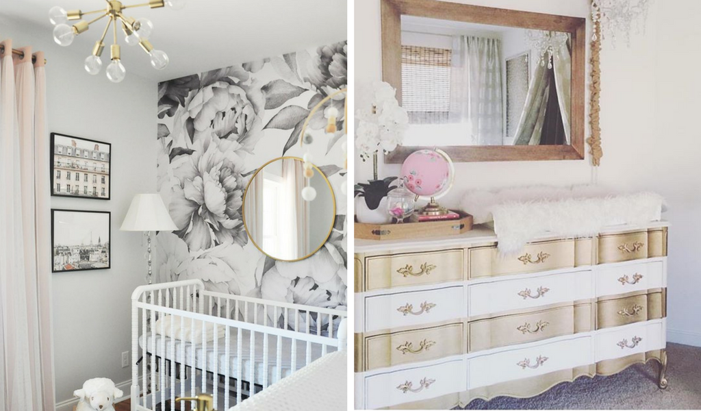Nursery design with gold accents and furniture for a beautiful gold nursery