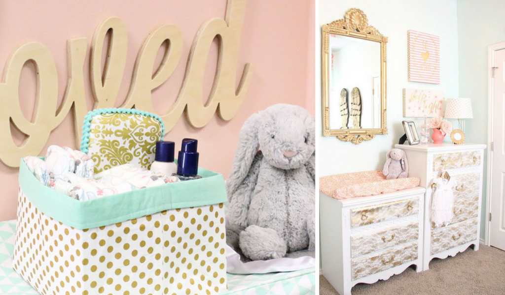 Mint and Gold Storage for Baby Room