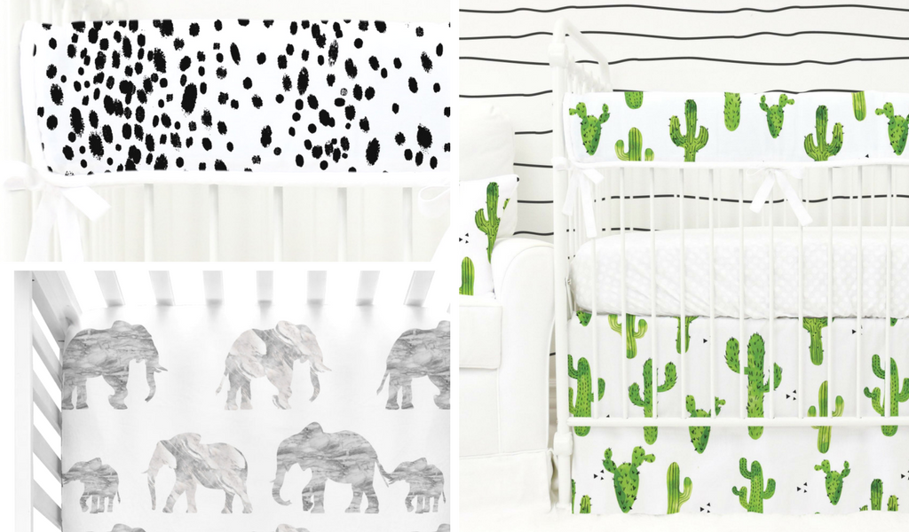 gender neutral bumperless crib bedding for a eclectic styled nursery design