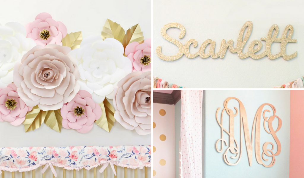 blush and gold paper wall flower set with custom wood name sign and wood initial sign