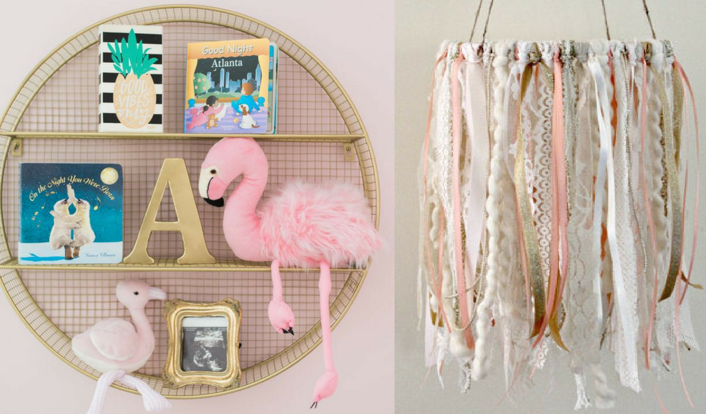 metallic gold shelf with flamingo nursery decor and frames with a fabric mobile