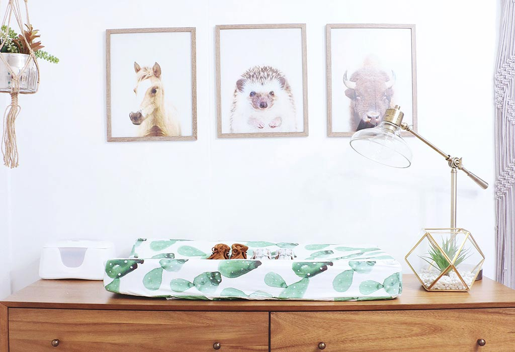 Nursery Animal Prints over a Mid-Century Modern Southwestern Cactus Changing Table
