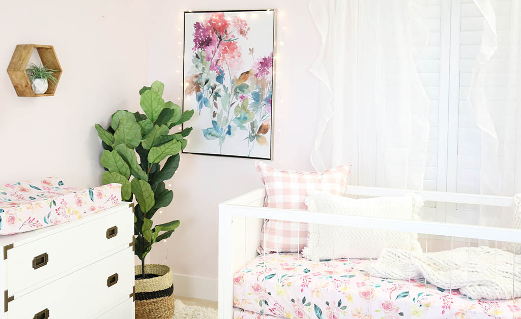 Blush Pink Modern Baby Girl Room with Floral Accents
