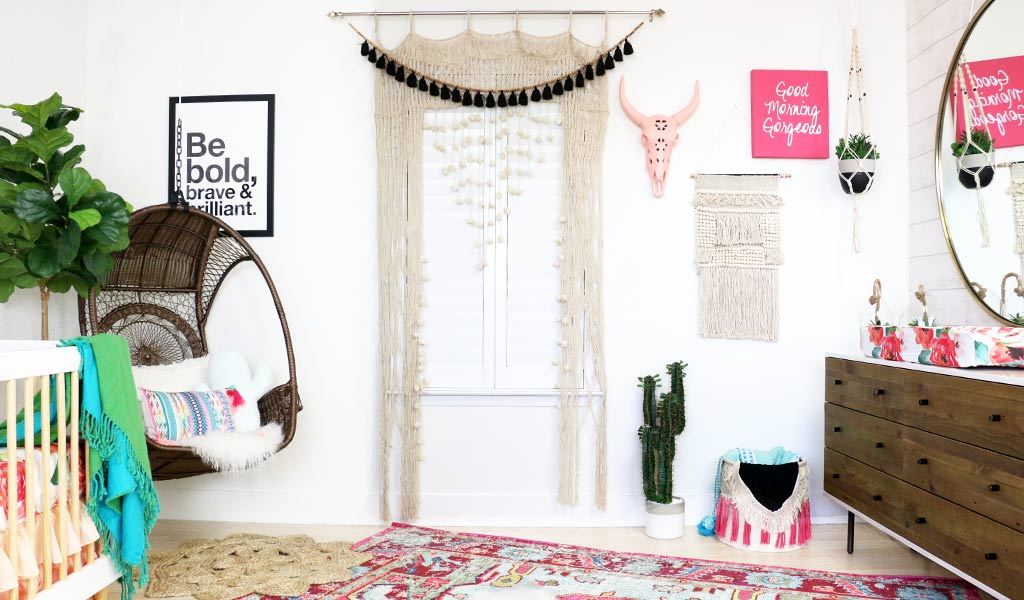Boho Cactus Nursery for a Baby Girl with macrame curtains