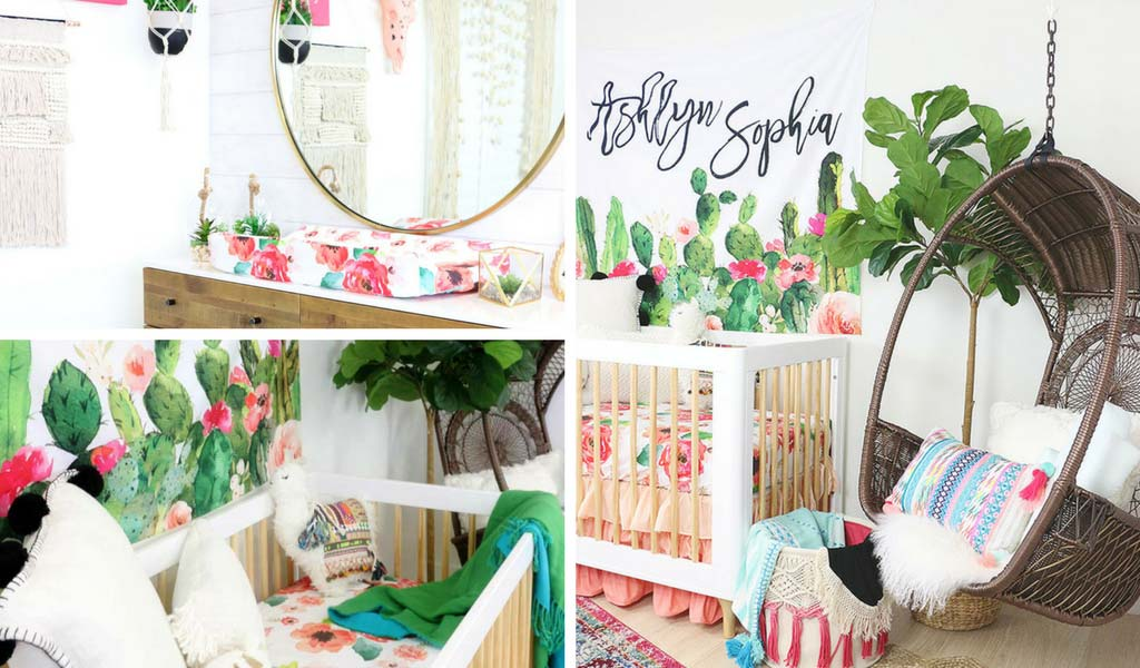 Baby Girl Cactus Nursery with Bright Floral Accents
