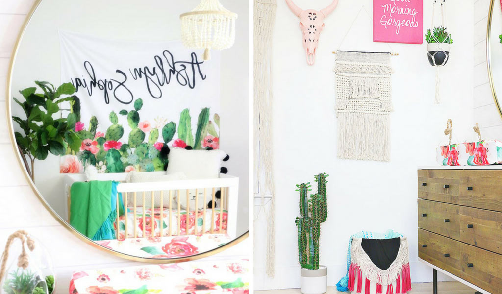 Baby Girl Boho Nursery Design with Pink & Cactus accents