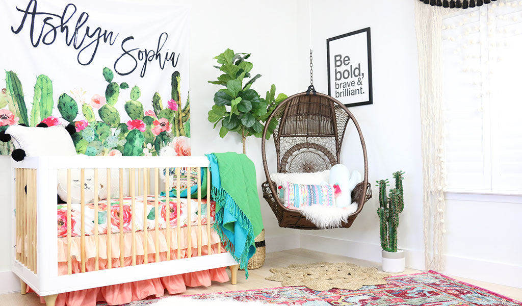 Adorable Bright Floral & Cactus Baby Girl Boho Nursery Design