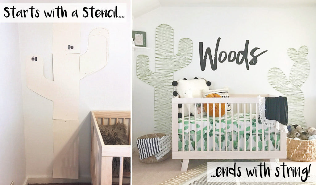 Cactus Nursery Wall Decor String Art DIY Starts with a Stencil and ends with String!