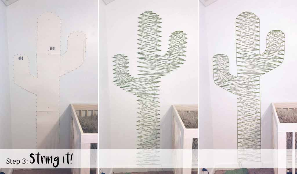 Step 3: String it! Easy DIY Cactus Nursery Wall Décor String Art