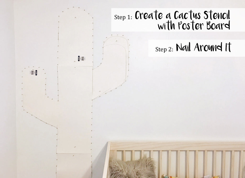 Cactus String Wall Art DIY Steps 1 & 2 - create cactus stencil & nail around it