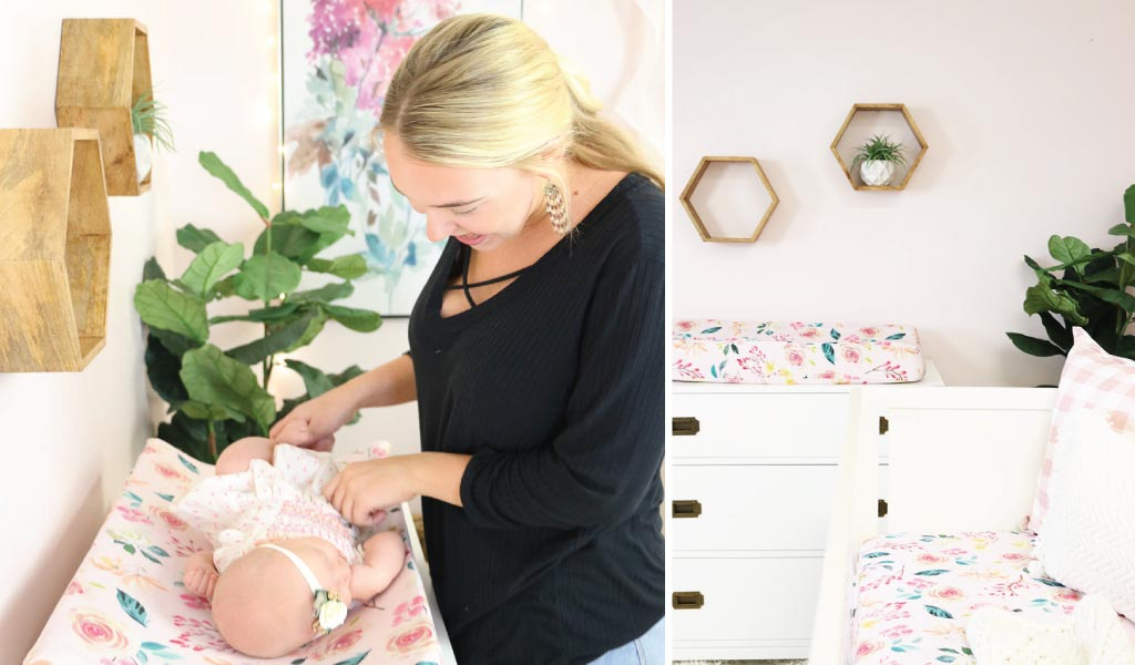Sweet & Modern Blush Floral Baby Girl Nursery Changing Area