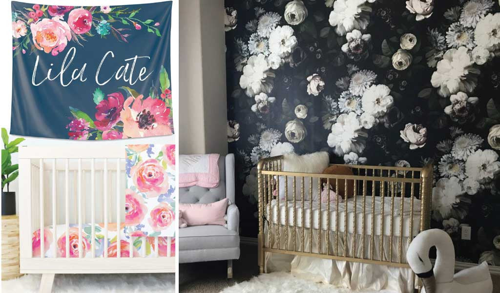 Dark Floral Nursery Wall Trends with Wallpaper & Tapestries