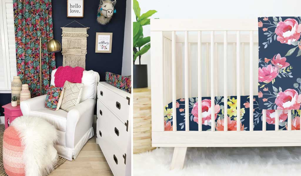 Dark Floral Nursery Navy Accent Wall & Navy Floral Crib Bedding