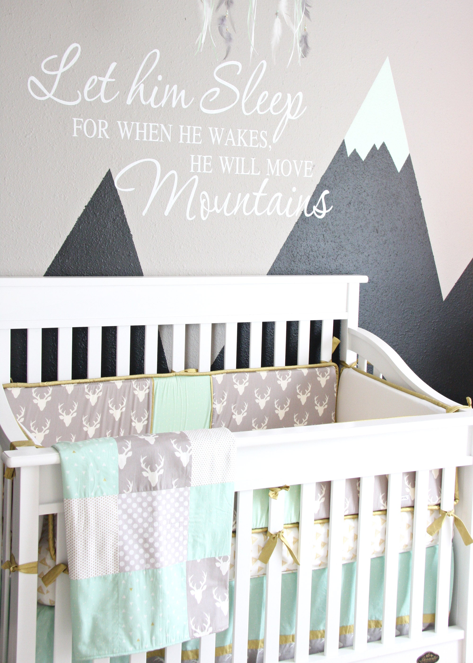 Caden Lane's Woodland Deer Baby Bedding in Baby Reyn's Mint & Gray Nursery