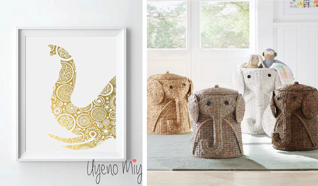 Elephant Wall Art and Hampers for Modern Nursery Decor