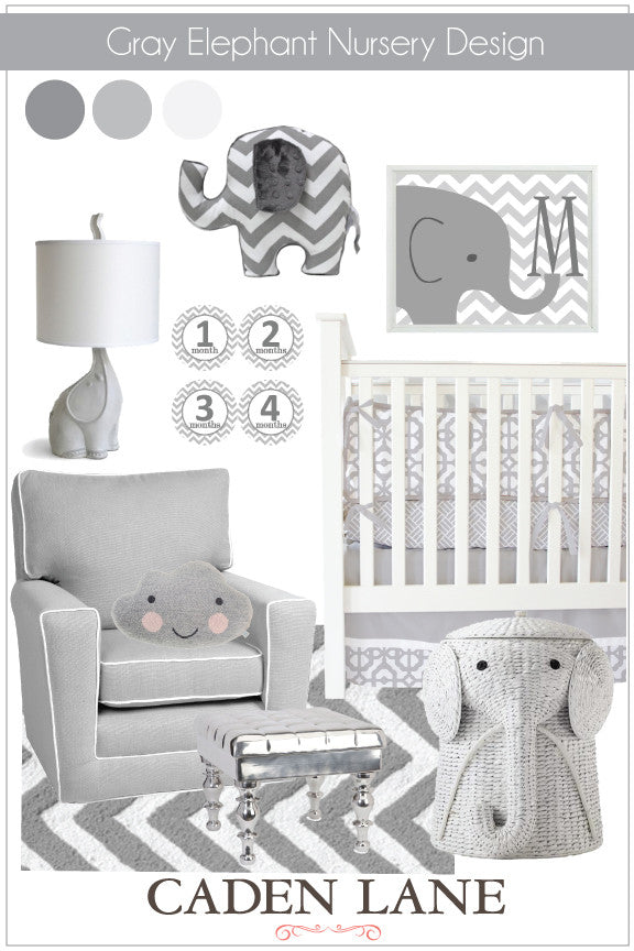 Gray Elephant Nursery Design for baby boy or girl