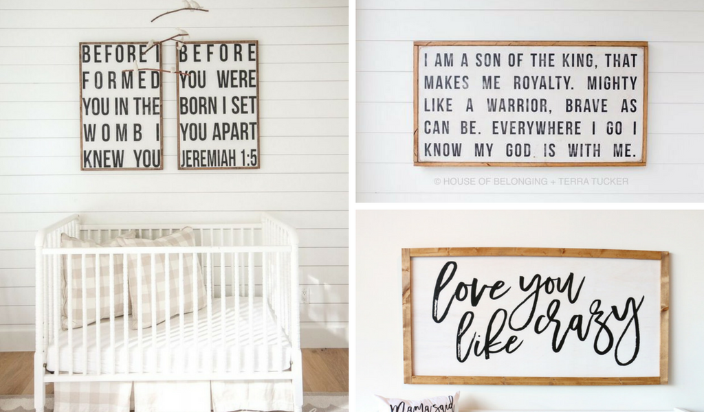 #3 Must Have for a Rustic Farmhouse Nursery Design: Wooden Framed Signs