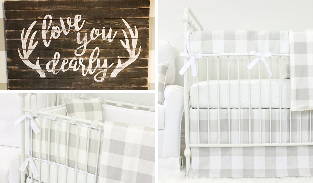 Woodland Nursery Crib Bedding Inspiration with a Neutral Plaid & Love You Dearly Antler Wall Art