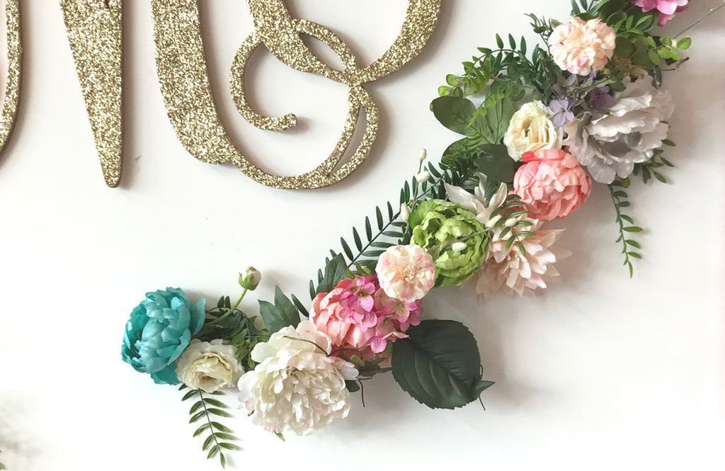 Close Up View of Completed Floral Garland Wall Decor