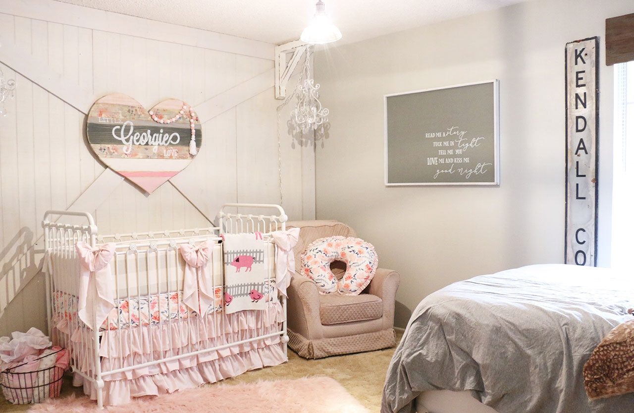 Sweet pink and gray farmhouse nursery