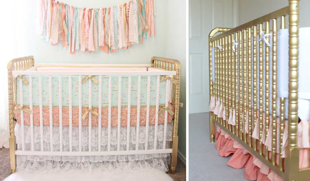 Gold Cribs make a great metallic accent in a baby girl's Gold Nursery