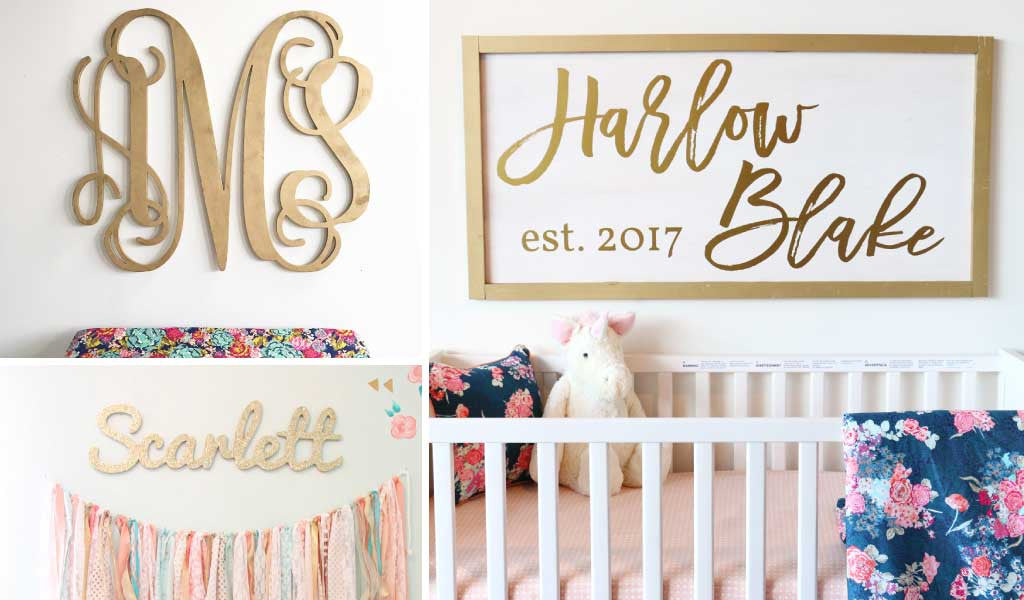 Personalized Gold Wall Decor for the Nursery