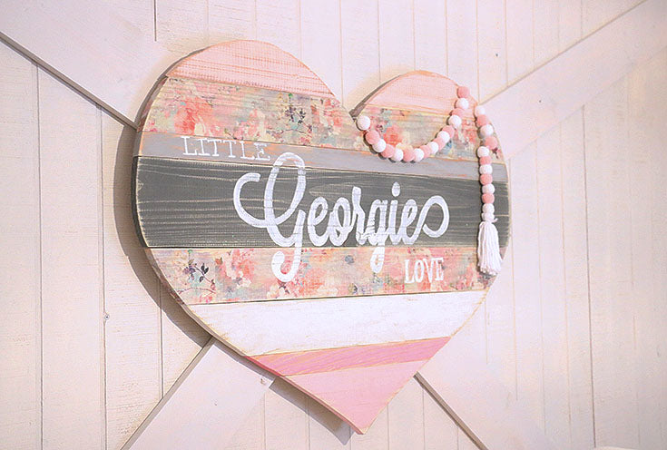 Wood Heart Personalized Name sign from Tracey's Fancy