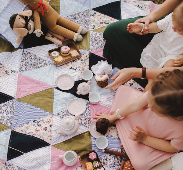 Tea Party on a Baby Quilt | via A Second Stitch to the Right