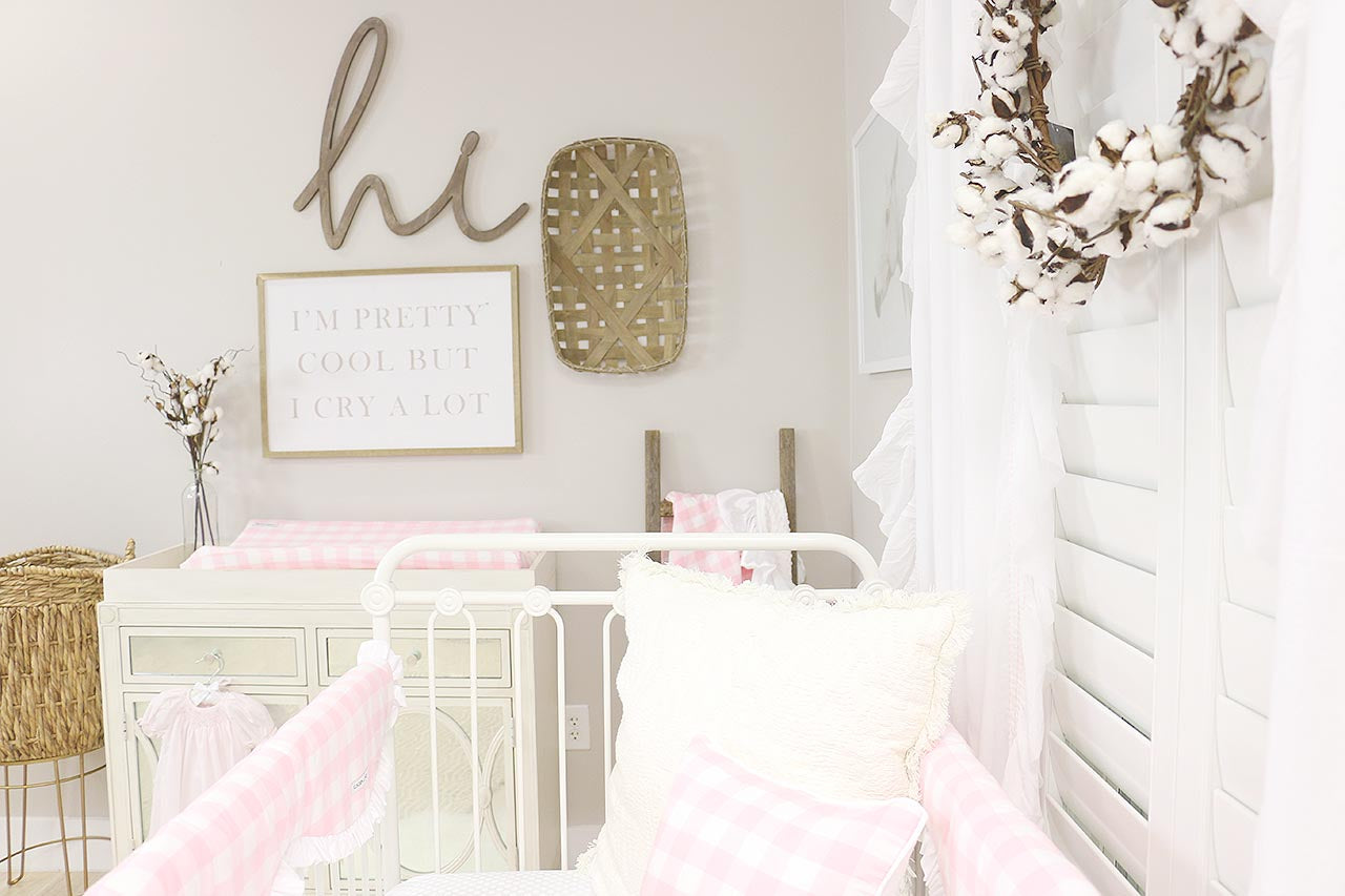 Pink & Neutral Farmhouse Nursery for a Baby Girl