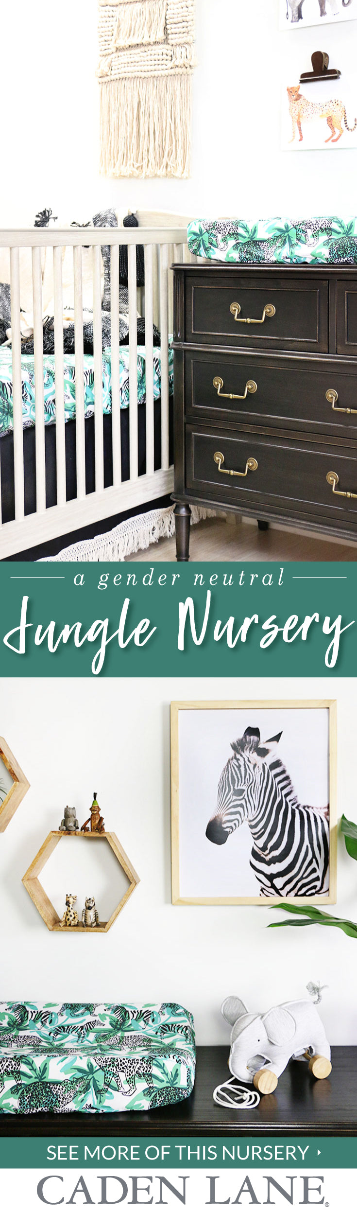 The most adorable jungle safari nursery in modern shades of green, black & white!