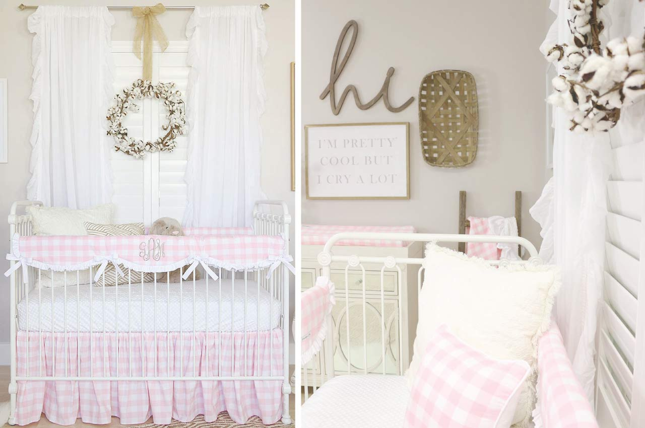 Pink Plaid Crib Bedding with Farmhouse Accents in the Nursery