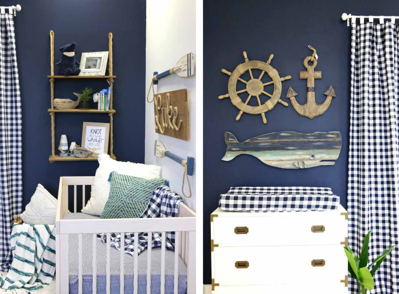 Nautical Wall Decor for a baby boy's room including anchors, captain's wheels, whales, knots & more
