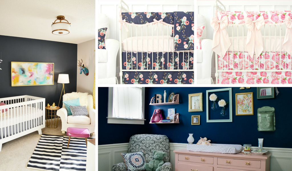 Navy & Blush Nursery Inspiration and Crib Bedding