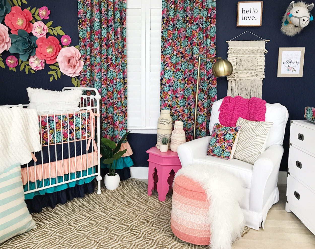 Photograph Your Nursery Yourself - Straight on Shot of Baby Girl's Dark Floral Nursery