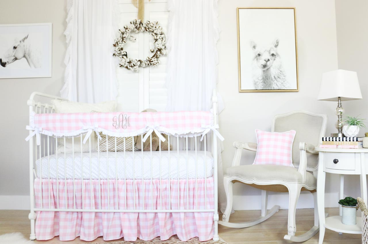 Sweet Pink Gingham Crib Bedding for a Farmhouse Nursery