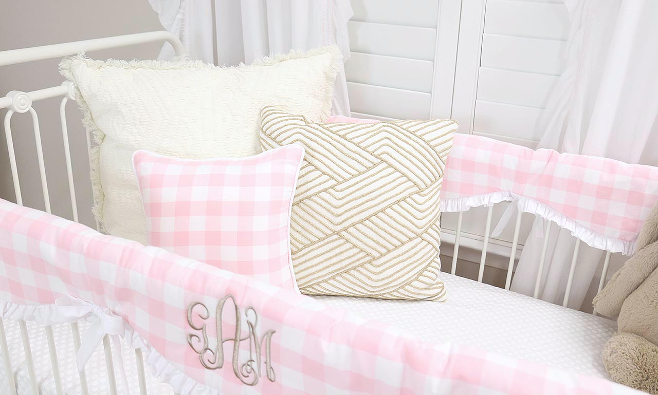 Pink Gingham Plaid Crib Bedding for a simple farmhouse baby room