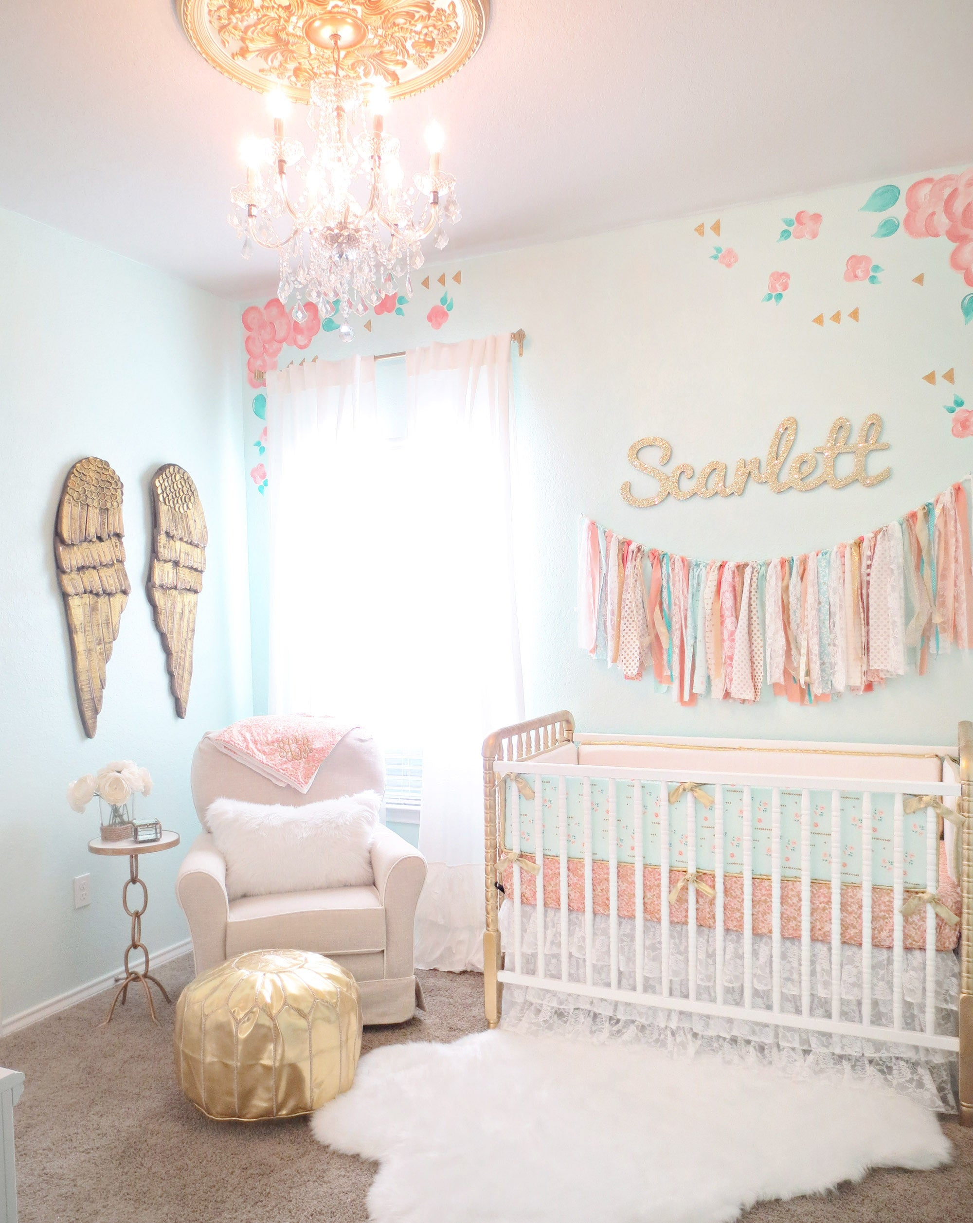 coral mint and gold vintage style scarlett 39 s nursery. Black Bedroom Furniture Sets. Home Design Ideas