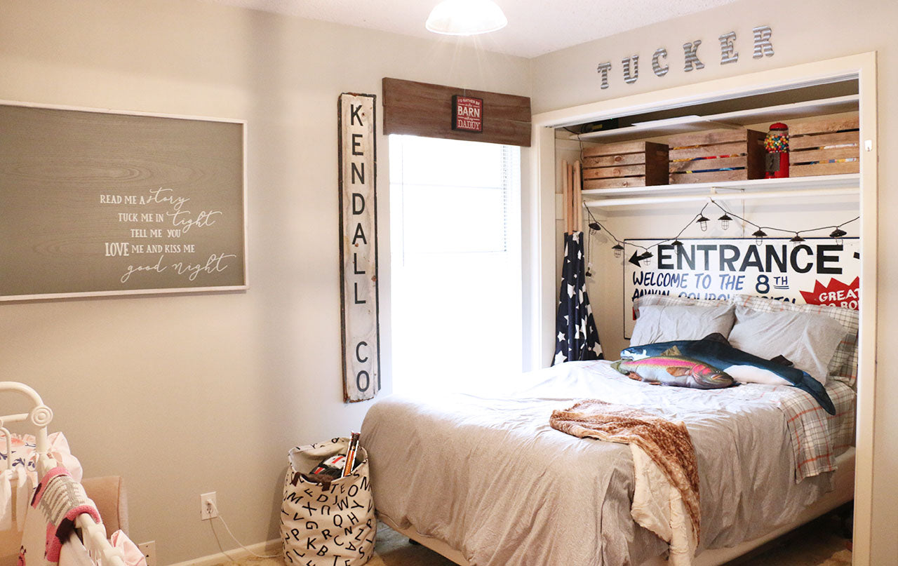 Big Brother's side of Shared Girly Farmhouse Nursery