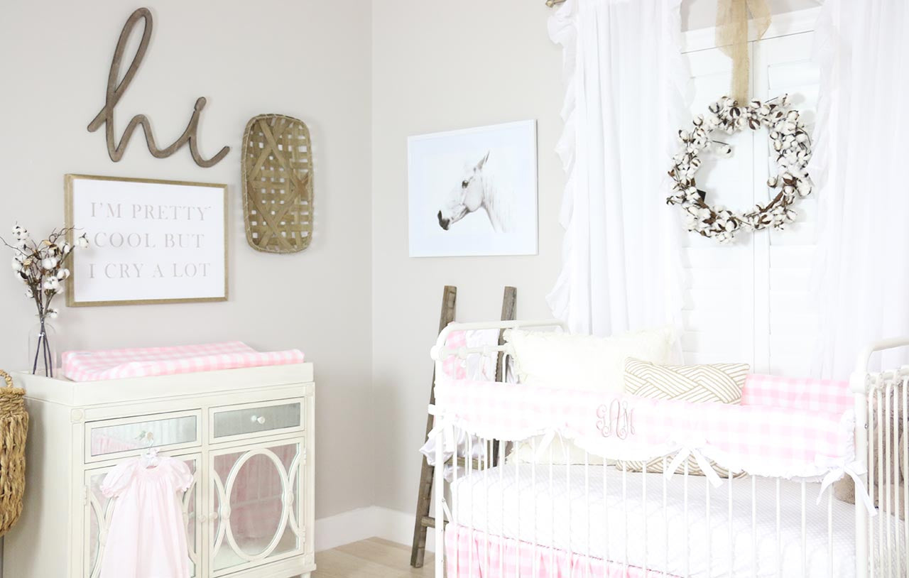 A sweet and soft nursery with shiplap walls NURSERIES t