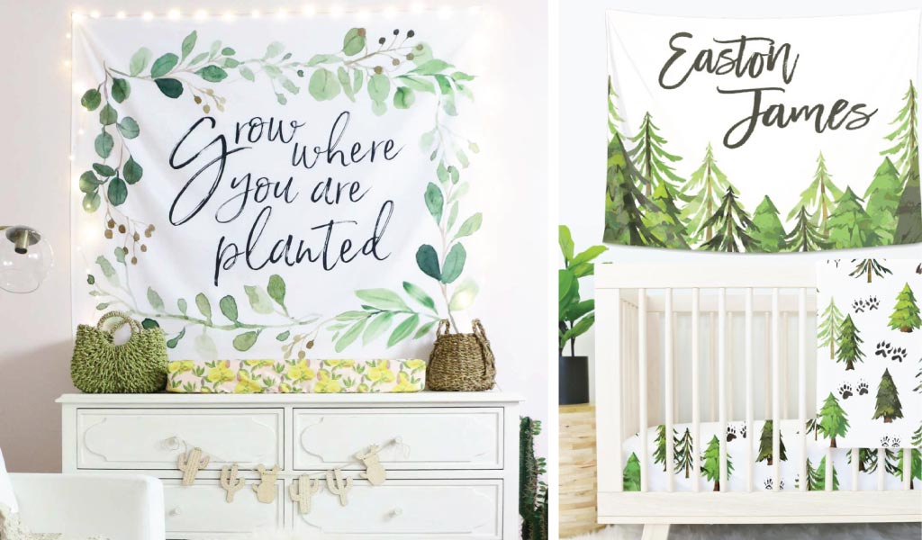 accent wall decor for the nursery over the crib or changing table with personalized tapestries