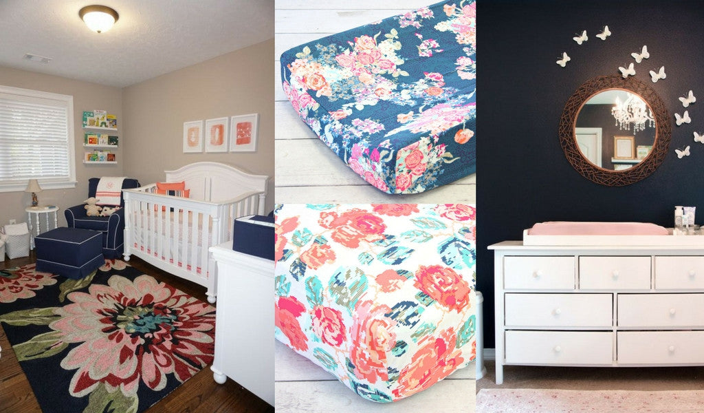 Dark Navy and Coral Nursery Inspiration