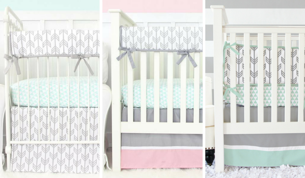 Mint, Gray and Pink Arrow Crib Bedding for a Arrow Nursery Design