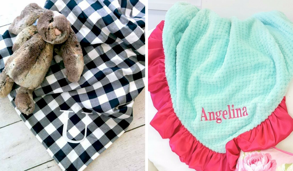 monogrammed baby blankets for boys and girls as nursery keepsakes