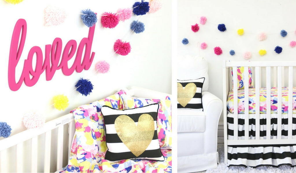 Neon nursery with colorful DIY pompom garland