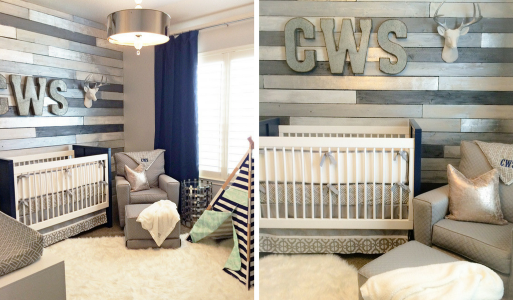 Modern Rustic Wood Plank Wall Nursery in Gray and Navy for a Classic Baby Boy Nursery