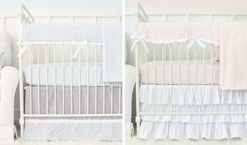 twin boy girl coordinating crib bedding sets, love you more collection baby bedding in blue and pink for a twin boy and girl nursery design