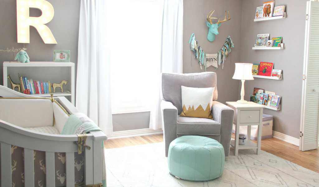 Gray, Gold and Mint Baby Woodland Nursery