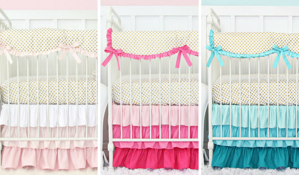 gold dot bedding collection by caden lane with blush, pink and aqua gradient ruffle crib skirt